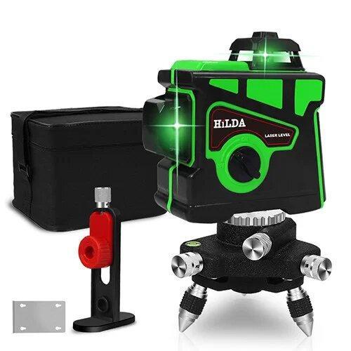 Лазерный уровень Hilda 3D 12 линий + МАГНИТНЫЙ КРОНШТЕЙН + мини ТРЕНОГА ☀ ЗЕЛЕНЫЙ ЛУЧ ☀
