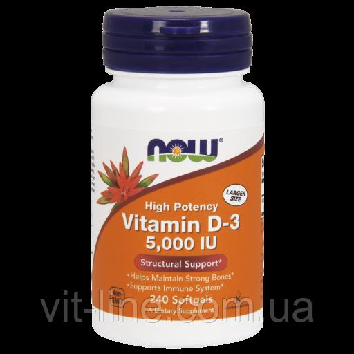 Now Foods вітамін D3 125 мкг (5000 МО), 240 м'яких таблеток