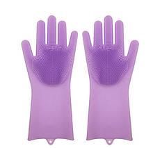 Силіконові рукавиці SUNROZ для миття посуду зі щіточкою Фіолетовий SUN2572, КОД: 366910