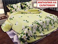 Односпальний комплект постільної білизни - Магнолія на салатовому