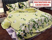Двоспальний комплект постільної білизни - Магнолія на салатовому