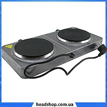 Електроплита DOMOTEC MS-5822 дискова подвійна - настільна електрична плита на дві конфорки (2000 Вт), фото 3