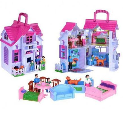 Домик для кукол раскладной, с фигурками и мебелью