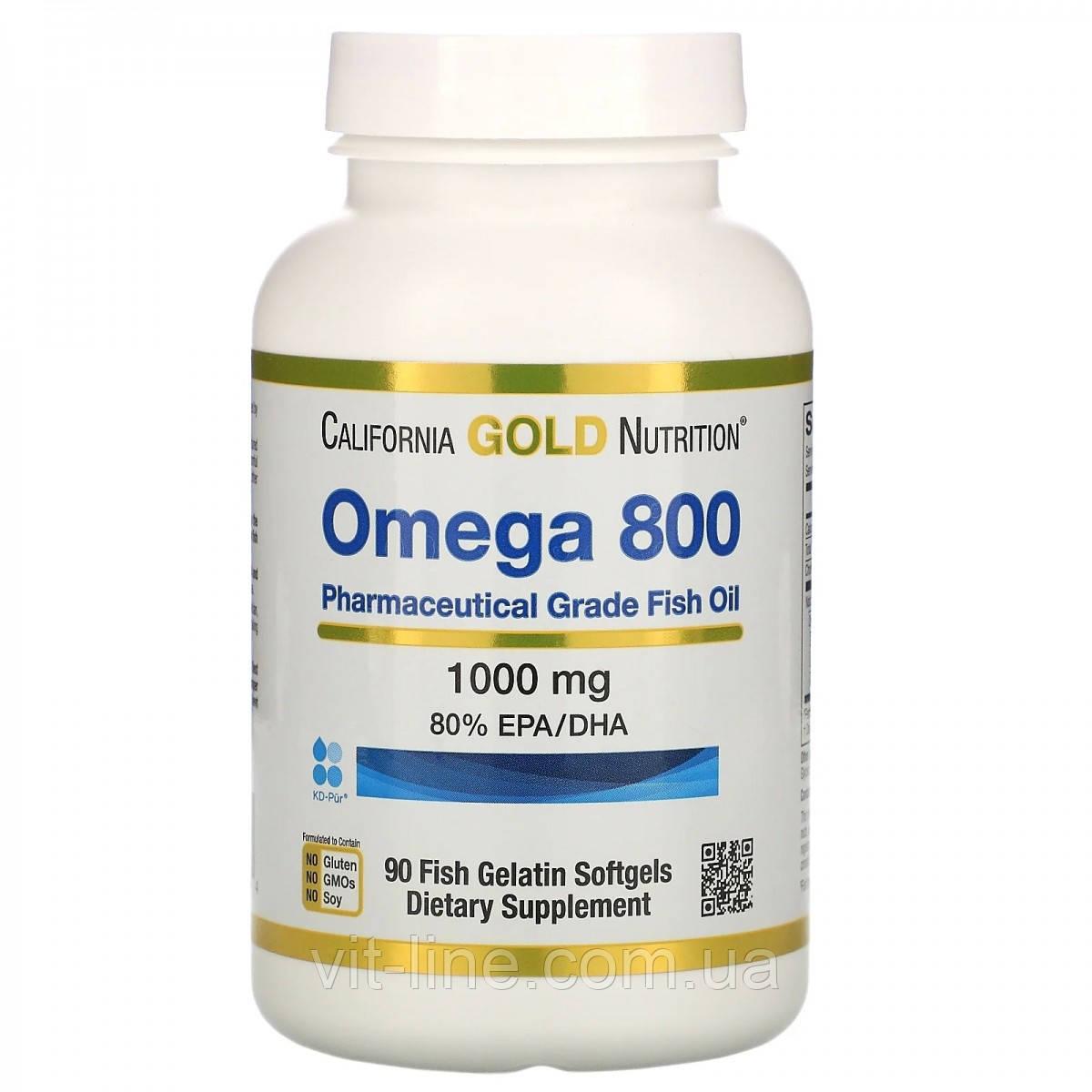 Омега 800 Рыбий Жир Фармацевтического Качества 1000 Мг 90 капсул California Gold Nutrition