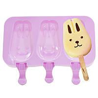 Силиконовая форма для мороженого CUMENSS Кролик на палочке Pink 3475-10089, КОД: 1283642