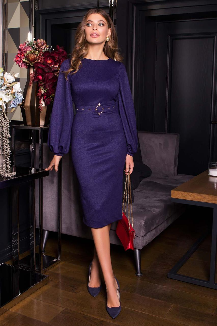 Нарядное платье футляр с люрексом новогоднее синее