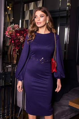 Нарядное платье футляр с люрексом новогоднее синее, фото 3