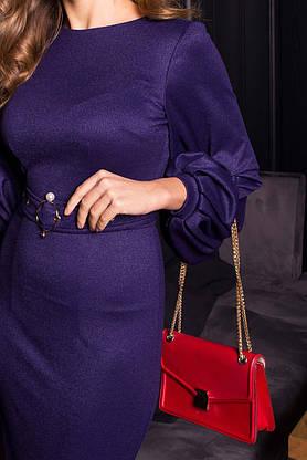 Нарядное платье футляр с люрексом новогоднее синее, фото 2
