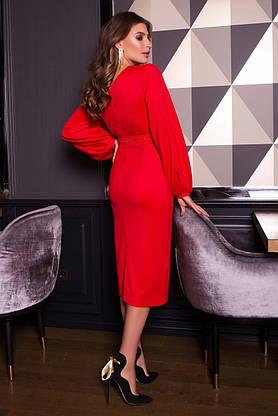 Нарядное платье футляр с люрексом новогоднее красное, фото 2