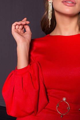Нарядное платье футляр с люрексом новогоднее красное, фото 3