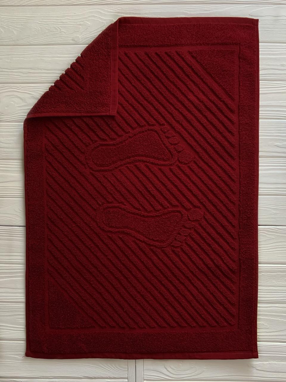 Махровое полотенце для ног, Туркменистан, 700 гр\м2, рубиновый 50 x 70см