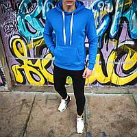 Кофта мужская худи с капюшоном на флисе синяя
