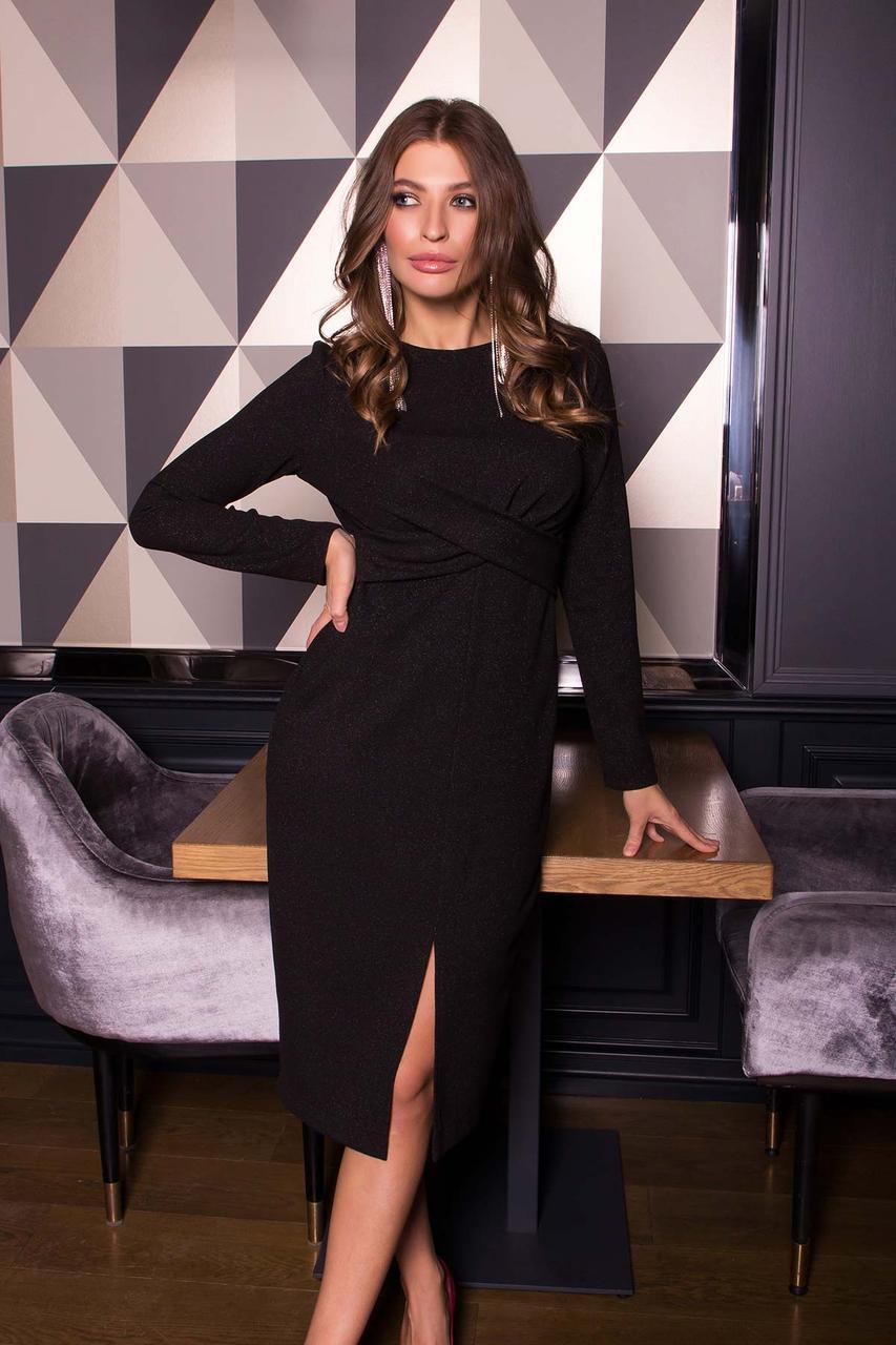 Нарядное платье футляр с люрексом новогоднее черного цвета