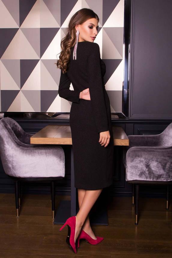 Нарядное платье футляр с люрексом новогоднее черного цвета, фото 2