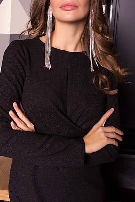 Нарядное платье футляр с люрексом новогоднее черного цвета, фото 3