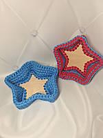 Набор вязаных декоративных корзинок для интерьера дома звёзды handmade