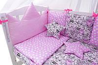 Комплект в кроватку для новорожденных, детская постель 8 элементов, котята