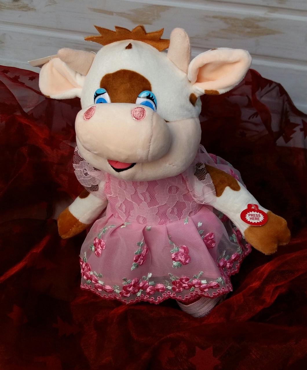 Мягкая музыкальная игрушка, бычок, 29см, поет песни на русском языке, на батарейках, ходит, в кульке C 43996