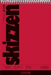 Скетчбук 17 х 24 см  Brunnen верхняя спираль обложка красная 110 г м2, 50 листов 1047550, КОД: 1931373