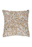 Подушка из натуральной кожи с металлизированными акцентами Finish 100 Rot / Gold, серо-бежевый; белый, фото 1