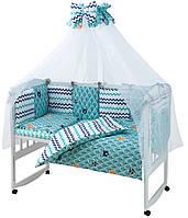 Комплект в кроватку для новорожденных, детская постель 8 элементов, бирюза