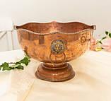 Старая медная чаша для пунша с львиными головами вместо ручек, кашпо, горшок, медь, Англия, фото 2