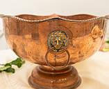 Старая медная чаша для пунша с львиными головами вместо ручек, кашпо, горшок, медь, Англия, фото 3