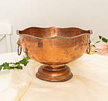 Старая медная чаша для пунша с львиными головами вместо ручек, кашпо, горшок, медь, Англия, фото 5