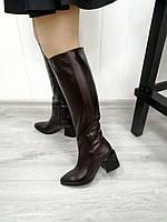 Стильні чоботи на широкому каблуці, фото 1