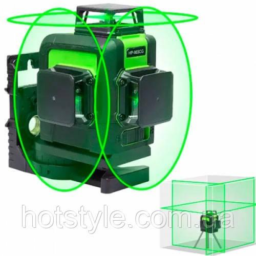 Лазерный уровень, нивелир 12 линий, 3 плоскости 360град, АКБ Huepar 903CG, 102446