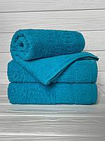 Махровое полотенце для лица, Туркменистан, 430 гр\м2, бирюзовое темный, 50*90 см