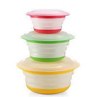 Cкладная миска Feramo с крышкой 3 шт в комплекте для пищевых продуктов Разноцветный 67325595, КОД: 1885411
