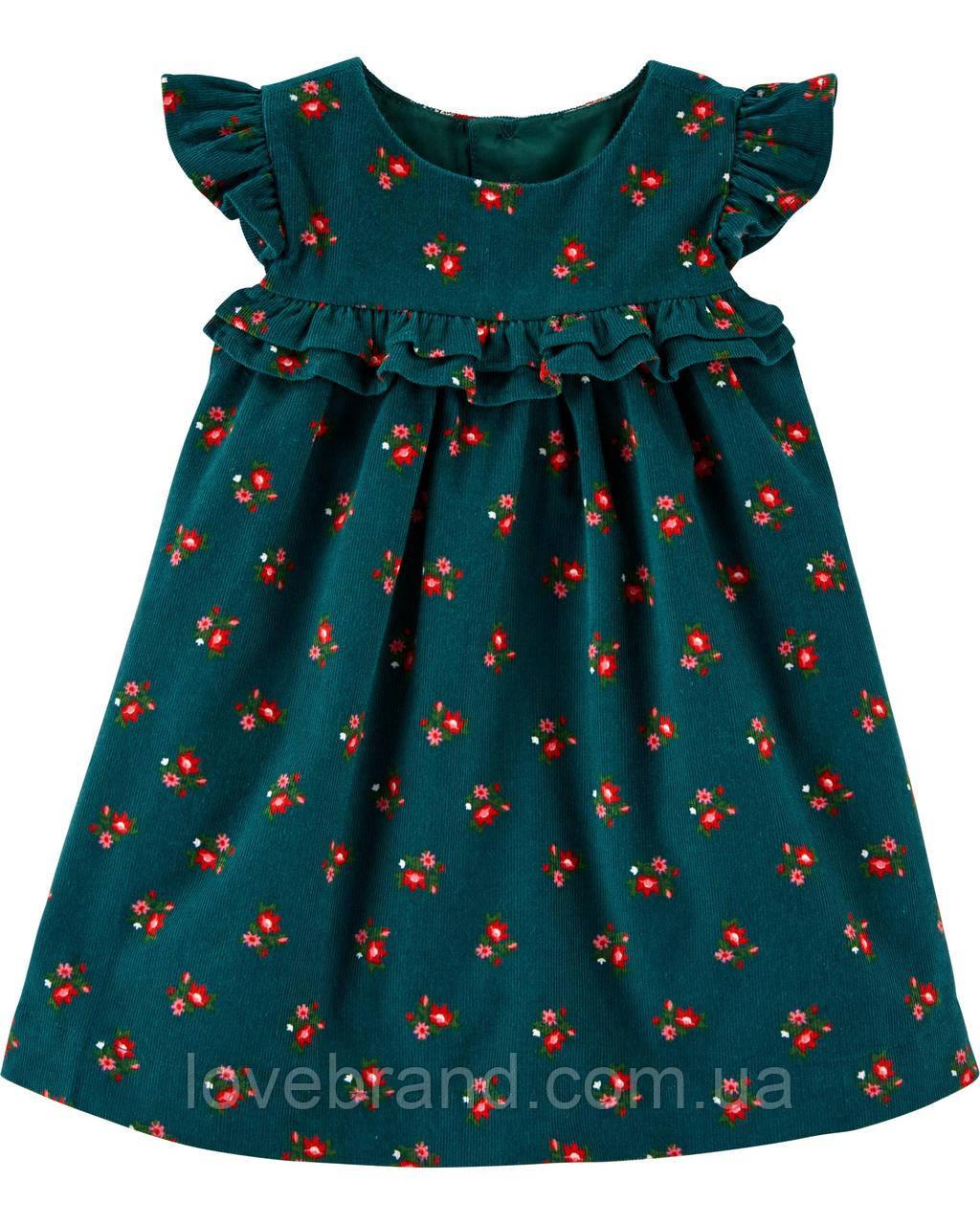 Нарядное велюровое платье для девочки Carter's зеленое в цветочки