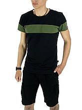 Комплект Футболка и шорты Intruder Color Stripe Miami L Черный с синим Kom 1589368424  3, КОД: 1720897
