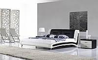 Кожаная двуспальная кровать Sonata Mobel B208 Бело-черная, КОД: 1564104