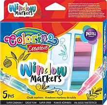 Фломастеры Colorino для рисования на стекле 5 цветов 39637PTR, КОД: 2446822