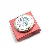 Зеркальце косметическое с камнями серебро 45430, КОД: 1364829