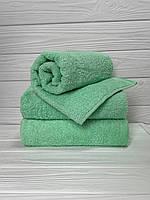 Махровое полотенце для лица, 50*90 см, Туркменистан, 430 гр\м2, зеленое светлый