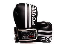 Боксерські рукавиці PowerPlay 3010 14 унцій Чорно-Білі PP301014ozBlack White, КОД: 1138847