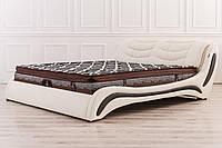 Кожаная двуспальная кровать Sonata Mobel B207 Молочный-венге, КОД: 1564103