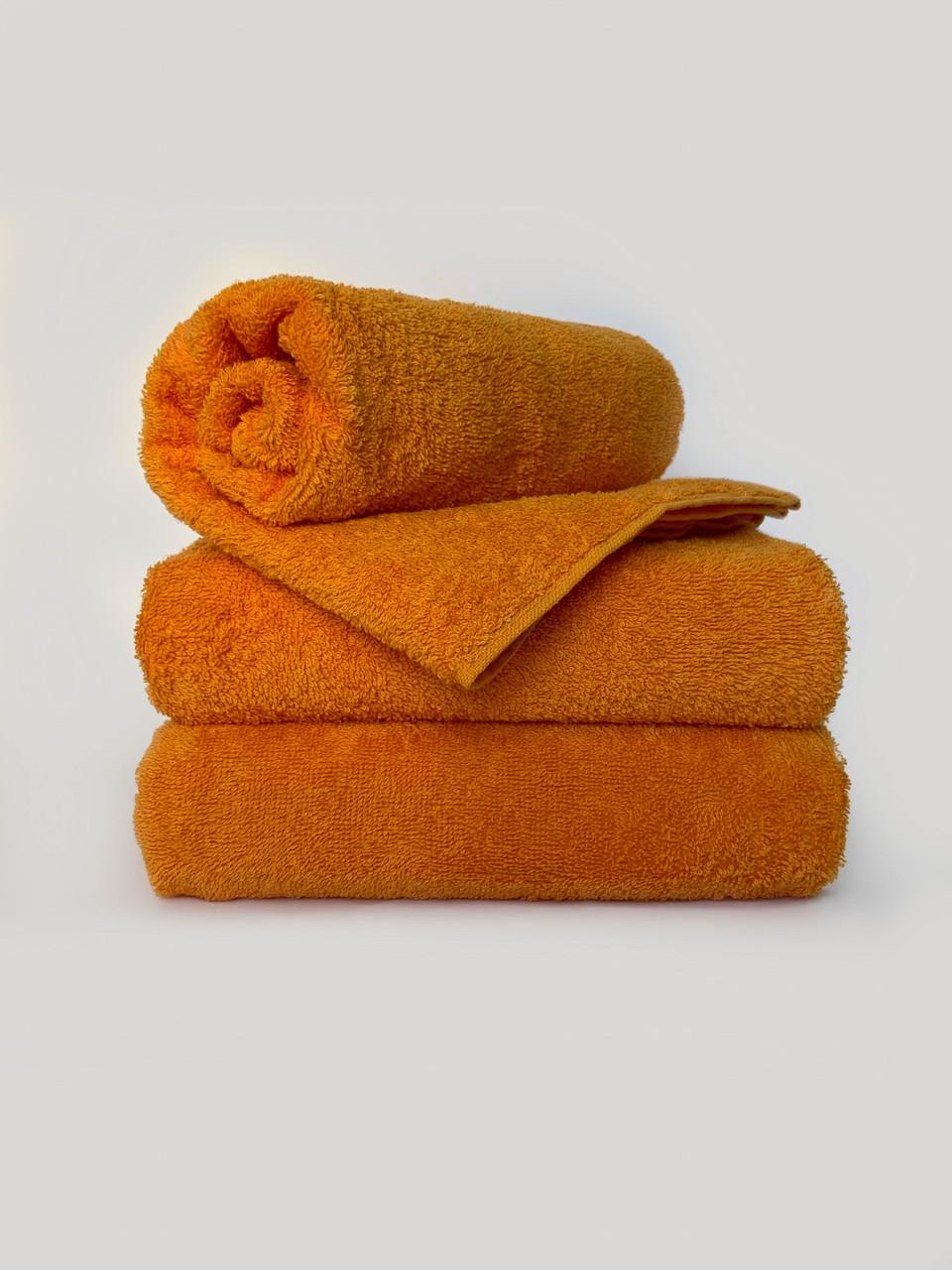 Махровое полотенце для лица, Туркменистан, 430 гр\м2, оранжевое, 50*90 см