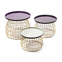 Набори из 3-х столиков Laudatio 460 Фиолетовый / сливовый / светло-серый, Фиолетовый; слива; светло-серый, фото 1