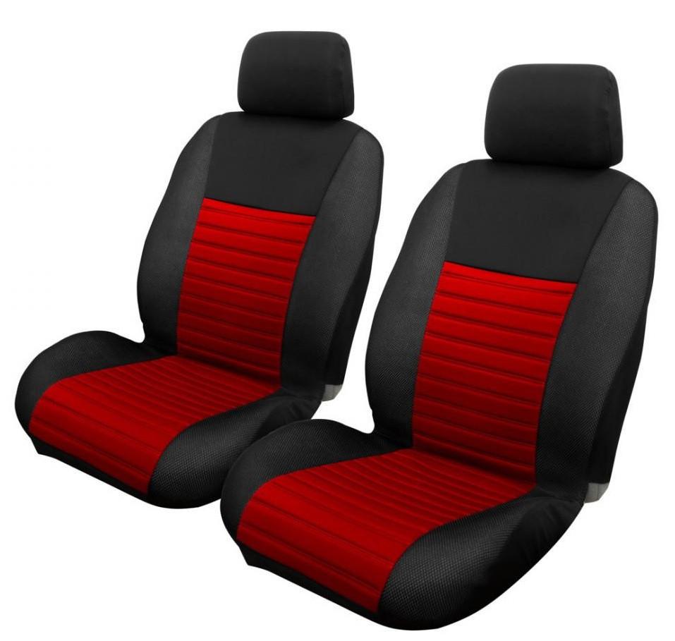 Авточохли з підігрівом Milex Arctic на передні сидіння чорно-червоні