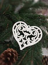 Прикраса на ялинку «Сердечко» з гліттерним покриттям, розмір 9х11 см, 10 грн
