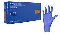 Перчатки нитриловые неопудренные Mercator Medical NITRYLEX BASIC 100 шт размер XL Синий
