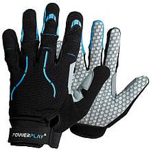 Велорукавички PowerPlay 6662 А XL Чорно-блакитні PP6662XLCyan, КОД: 1323770