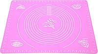 Силиконовый антипригарный коврик для выпечки и раскатки теста 50x40 см Розовый n-657, КОД: 1918230