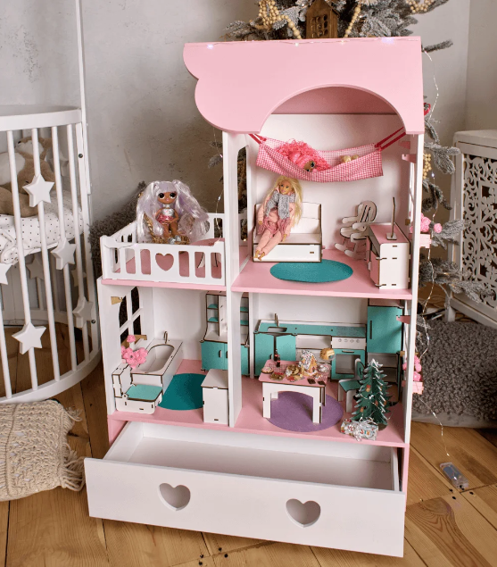 """""""Вилла Милана"""" Кукольный домик NestWood LOL/OMG/Барби, без мебели, МДФ, розовый"""