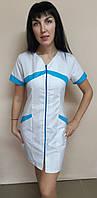 Женский медицинский халат Корра коттон на молнии короткий рукав, фото 1