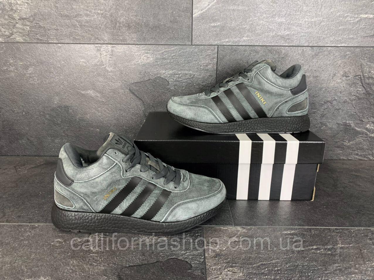 Мужские зимние кроссовки Adidas Iniki Адидас Иники  кожаные на меху цвет темно-серый